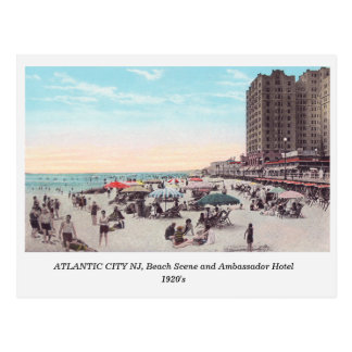 Atlantic City NJ, cena da praia, cartão do 1920