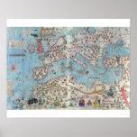 Atlas Catalan: Detalhe de Norte de África e de Eur Posteres