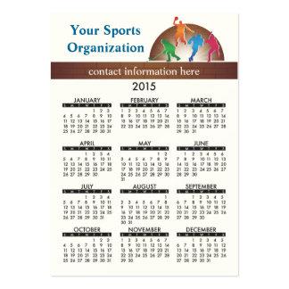 Atletismo da escola do calendário do cartão de cartão de visita grande