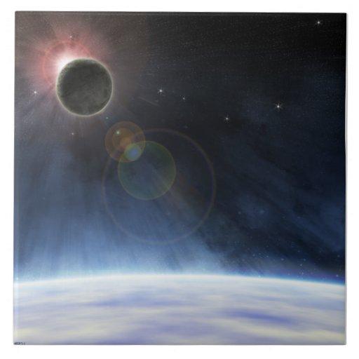 Atmosfera exterior da terra do planeta azulejos de cerâmica