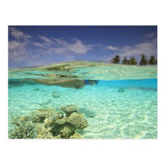 Atol sul de Huvadhoo, Maldives do sul, indiano Cartão Postal
