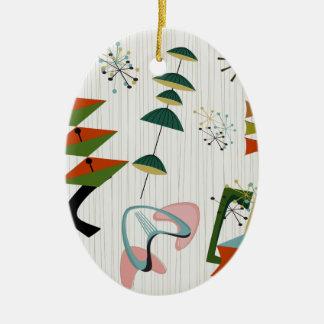 Atômico retro da Eames-Era inspirado Ornamento De Cerâmica Oval