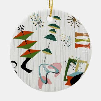 Atômico retro da Eames-Era inspirado Ornamento De Cerâmica Redondo