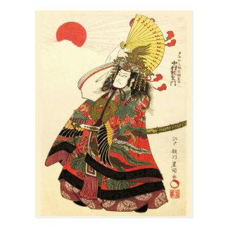 Ator japonês como um líder militar do samurai cartão postal