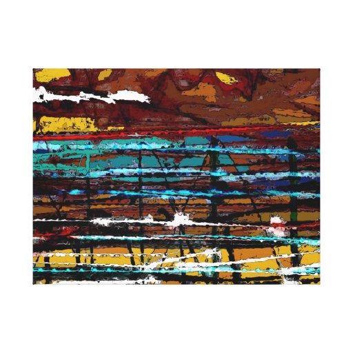 Atrás das linhas - impressão abstrato das canvas impressão em tela