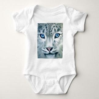 Atrás dos olhos azuis - leopardo de neve body para bebê