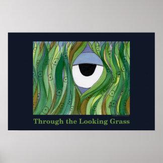 Através do poster de vista da grama