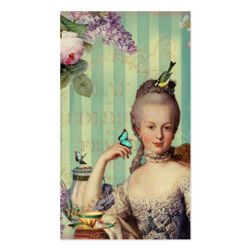 Au pequeno Trianon de Thé no marfim com rosas e li Modelo Cartão De Visita