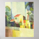 August Macke - casa brilhante de Helles Haus 1914 Posters