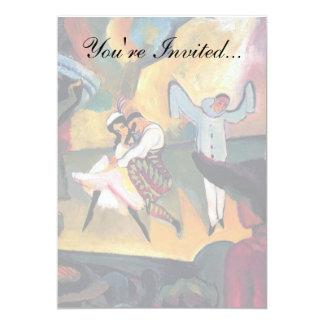 Auguste Macke - dançarinos de balé do russo no Convite 12.7 X 17.78cm
