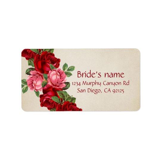 Aumentou a etiqueta de endereço elegante romântica