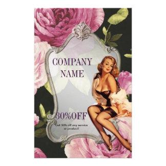 aumentou a forma retro do maquilhador feminino panfletos personalizado