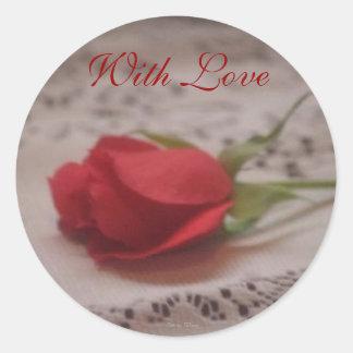 aumentou com laço, com amor, a foto perto: TEYoung Adesivo Em Formato Redondo