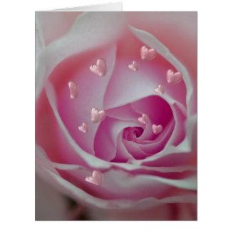 aumentou com rosa dos corações cartao