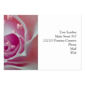 aumentou com rosa dos corações modelos cartões de visitas