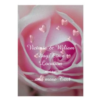 aumentou com rosa dos corações convites personalizados