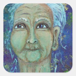Auntie feminino divino Ebb Adesivo Quadrado