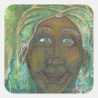 Auntie feminino divino Jadene Adesivo Quadrado