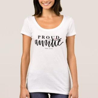 Auntie orgulhoso - caligrafia rotulada mão da camiseta
