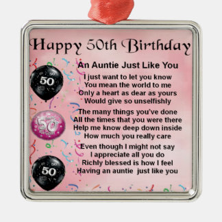 Auntie Poema - 50th aniversário Ornamento Quadrado Cor Prata