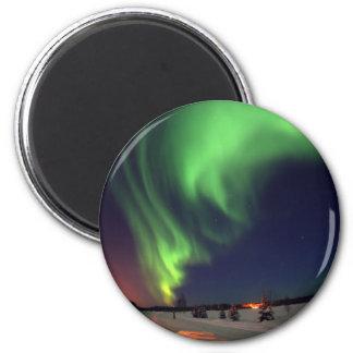 Aurora boreal no lago bear ímã redondo 5.08cm
