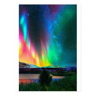 Aurora Borealis art2 do arco-íris Cartão Postal