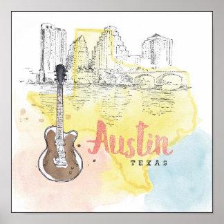Austin, esboço da aguarela de Texas   Pôster