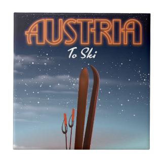 Áustria a esquiar - poster de viagens do esqui do