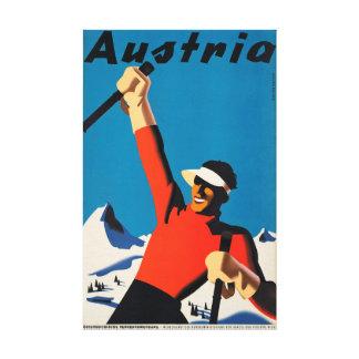 Áustria, canvas do vintage do viagem do esquiador