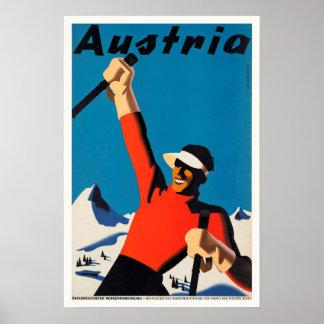 Áustria, poster vintage do viagem do esquiador das