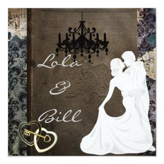AUTÊNTICO do convite do casamento do conto de Convite Quadrado 13.35 X 13.35cm