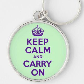 Autêntico mantenha a calma e continue o melhor chaveiro redondo na cor prata