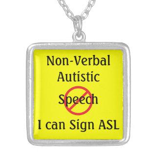 Autístico não verbal médico do alerta colar com pendente quadrado