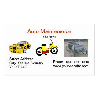 Auto cartão de visita da manutenção
