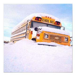 Auto escolar amarelo convite quadrado 13.35 x 13.35cm