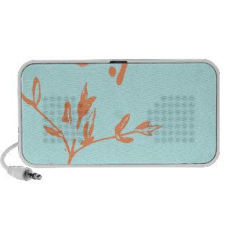 Auto-falante Azul-Alaranjados florais abstratos do Caixinha De Som Para Viagem