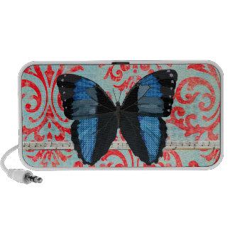 Auto-falante azul do Doodle da música da borboleta Caixinhas De Som Portátil