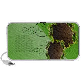 Auto-falante floral esverdeado e marrom caixinhas de som para notebook