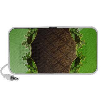 Auto-falante floral esverdeado e marrom caixinha de som para laptop