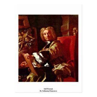 Auto-Retrato por Solimena Francesco Cartoes Postais