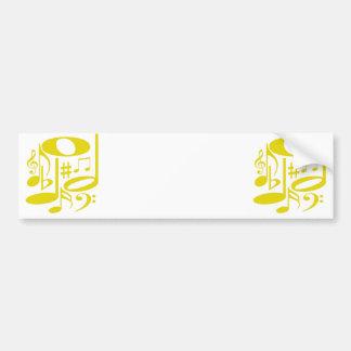 Autocolante no vidro traseiro amarelo musical adesivo para carro