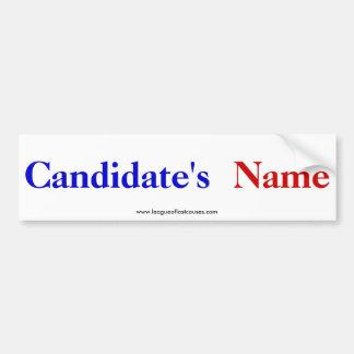 """Autocolante no vidro traseiro do """"candidato"""" adesivos"""