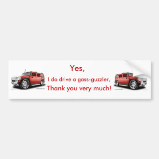 Autocolante no vidro traseiro do Gass-Guzzler (Hum Adesivo Para Carro