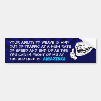Autocolante no vidro traseiro do troll da luz verm adesivo para carro