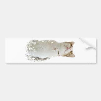 Autocolante no vidro traseiro floral branco do gat adesivo para carro