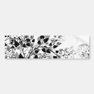 Autocolante no vidro traseiro floral branco preto  adesivo para carro