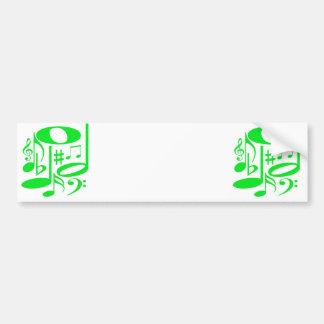 Autocolante no vidro traseiro verde musical adesivo para carro