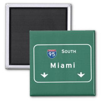 Autoestrada da estrada nacional de Miami Florida Ímã Quadrado