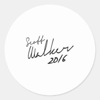 Autógrafo 2016 do caminhante de Scott Adesivo Redondo