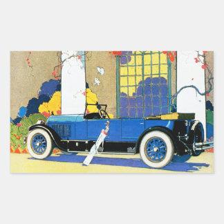 """Automóvel do menino azul"""" de Jordão do vintage """" Adesivo Retangular"""
